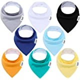 Udolove Baby Bandana Drool Bibs for Boys & Girls, Super Soft Absorbent Cotton for Drooling and Teething, Baby Shower Unisex 8-Pack Gift Set