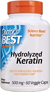 Doctor's Best Hydrolyzed Keratin Keraglo - Strengthen, Nourish, Hydrates Hair, High Potency 500mg, 60 Count