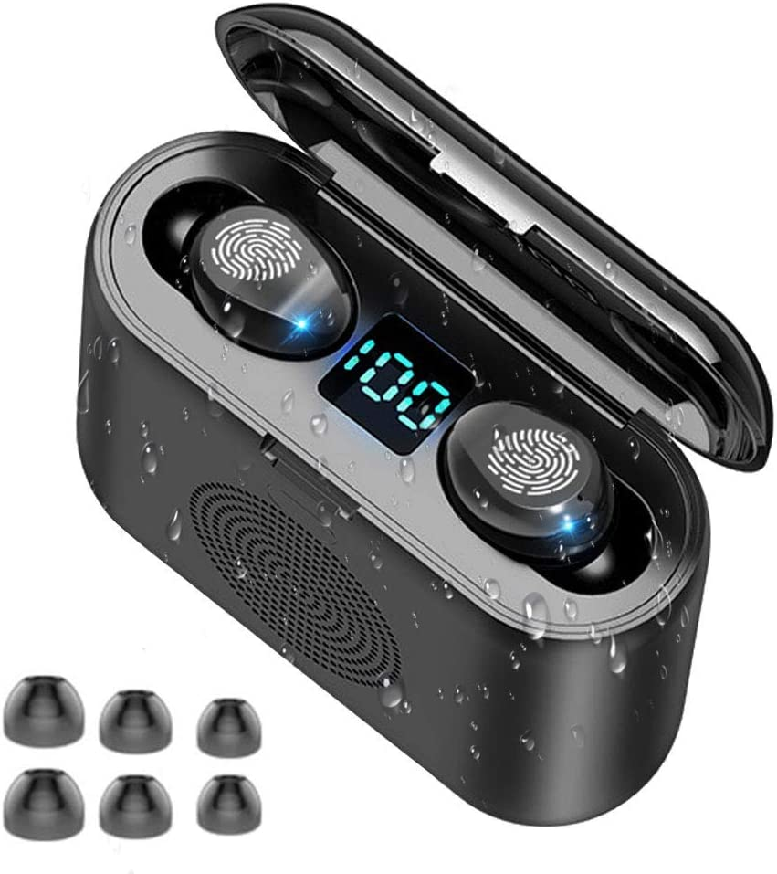 WZTO Auriculares Bluetooth Inalámbricos y Altavoz Bluetooth 2 en 1, Auriculares Bluetooth 5.0 Control Táctil Micrófonos Dual Incorporado Hi-Fi Estéreo Deportivos IPX7 Impermeable