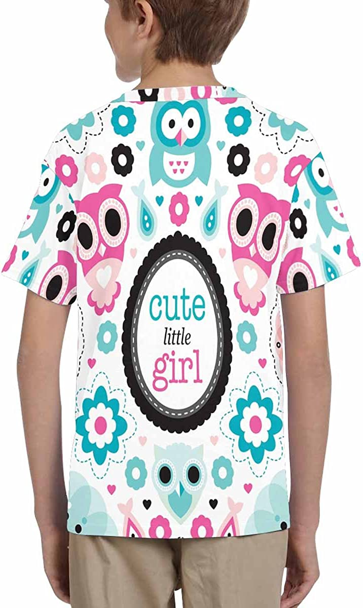 XS-XL INTERESTPRINT Adorable Owl and Pastel Flowers Kids T-Shirt