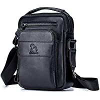 Men's Shoulder Bag, Popoti Handbag Leather Crossbody Bag Shopping School Backpack Messenger Carrying Bags Tote Purse Multifunction Small Card Pocktes