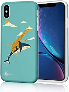 Unique Design Soft Flexible TPU Phone Case for iPhone Xs Max (2018) 6.5-inch - Marvelous Funny Giraffe Shark