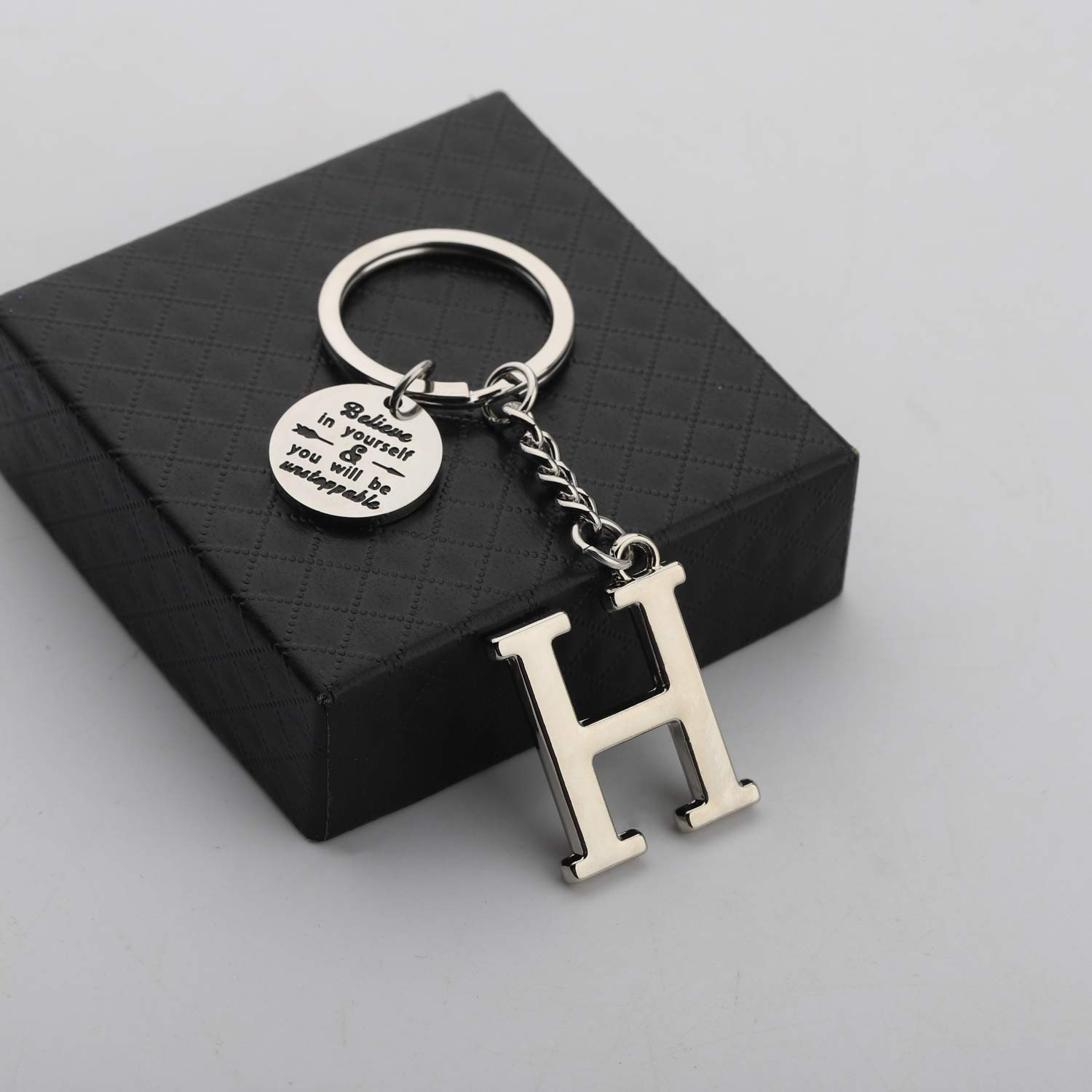 Initial Keychain Alphabet Initial Letter Key Ring Pendant Inspiration Gifts Believe in Yourself and You Will Unstoppable