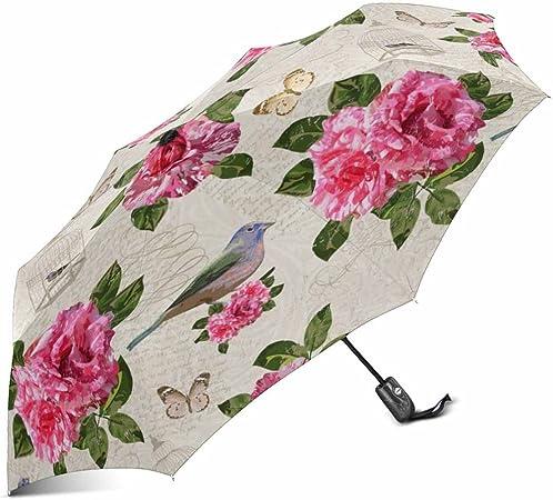 InterestPrint Custom Vintage Flower Floral Blossom Anti Sun UV Foldable Travel Compact Umbrella
