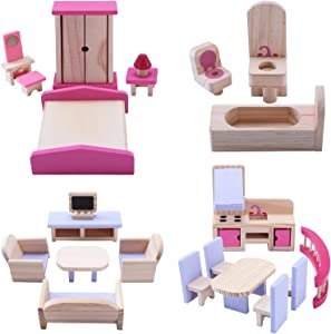 Wooden Doll Furniture,Doll House Furniture Bathroom, kitchen, Bedroom, Living room,Wooden Dollhouse Furniture Set for Pretend Games, Doll House Decoration, And Intellectual Development
