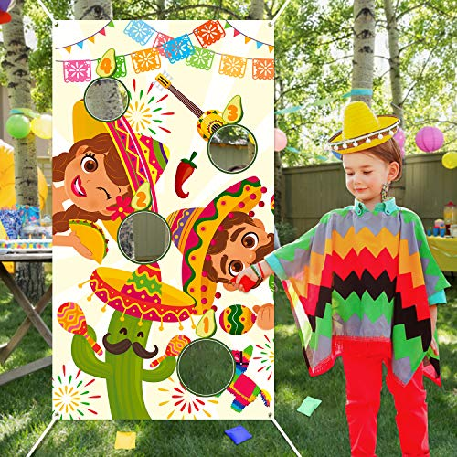 WATINC Mexican Toss Game with 4 Bean Bags, Summer Fiesta Party Game for Kids and Adult, Cactus Banner for Taco Tuesday Cinco De Mayo Party Decoration, Outdoor Yard Favors Supplies, All Ages Activity