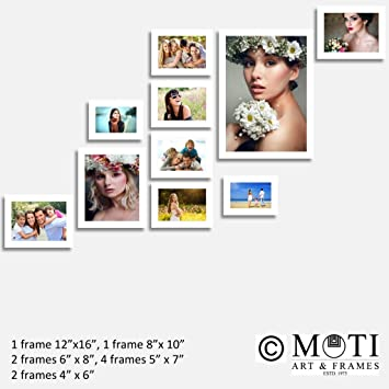 0102ea0456 Buy 10 Pc White Photo Frames Wall Collage Online at Low Prices in India -  Amazon.in