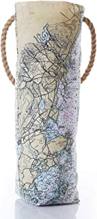 "product image for Sea Bags Penobscot Bay Nautical Chart Wine Bag Recycled Sail Cloth with rope handles 12""h x 6.5""w"