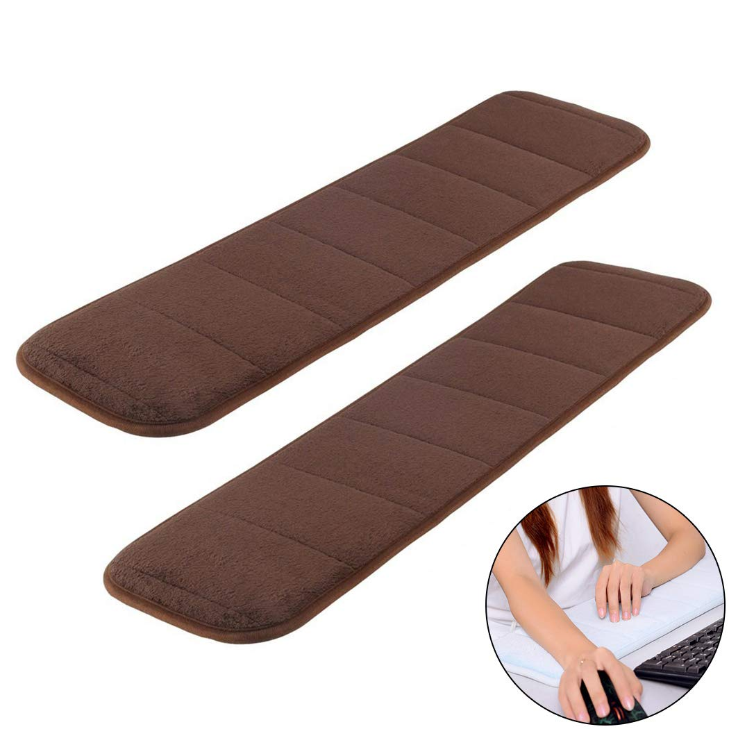 2Pcs Computer Wrist Elbow Pad, Creatiee Upgraded Wrist Rest Arm Pad(Soft, Long-Sized), Keyboard Wrist Elbow Support Mat for Office Desktop Working Gaming - Less Elbow Pain (7.9 x 31.5 inch) (Brown)