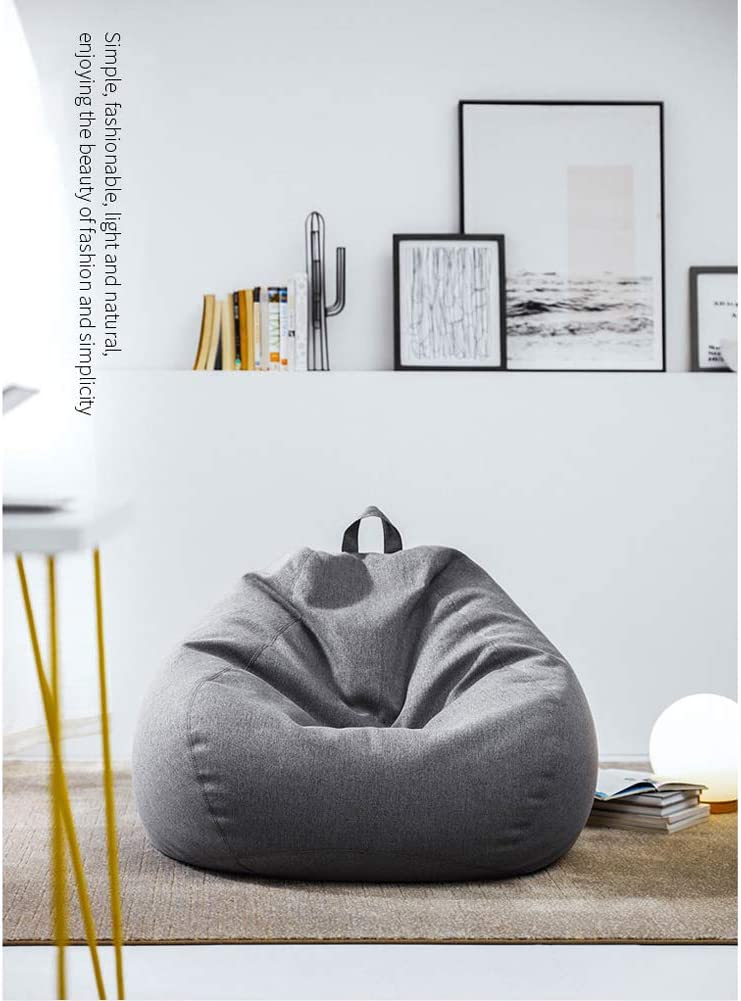 ,Beanbag Replacement Cover Black, 70 * 80cm No Filler Cotton Linen Stuffed Animal Storage Bean Bags Sofa Chairs Cover for Kids