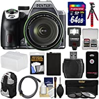 Pentax K-70 All Weather Wi-Fi Digital Camera & 18-135mm WR Lens (Silver) with 64GB Card + Backpack + Flash + Battery + Tripod + Filters + Remote + Kit