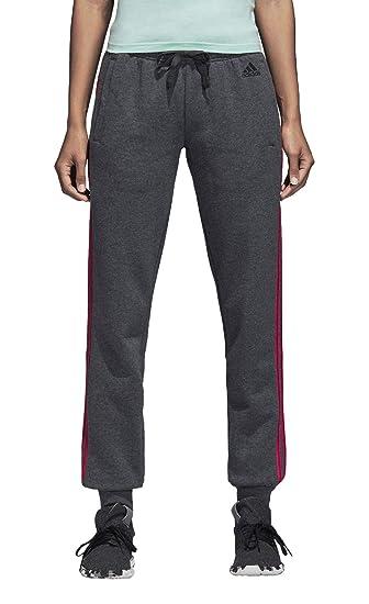 adidas Damen Essentials 3 Stripes Closed Hem Hose, Dark Grey Heather Real  Magenta, f1e25bd6d6