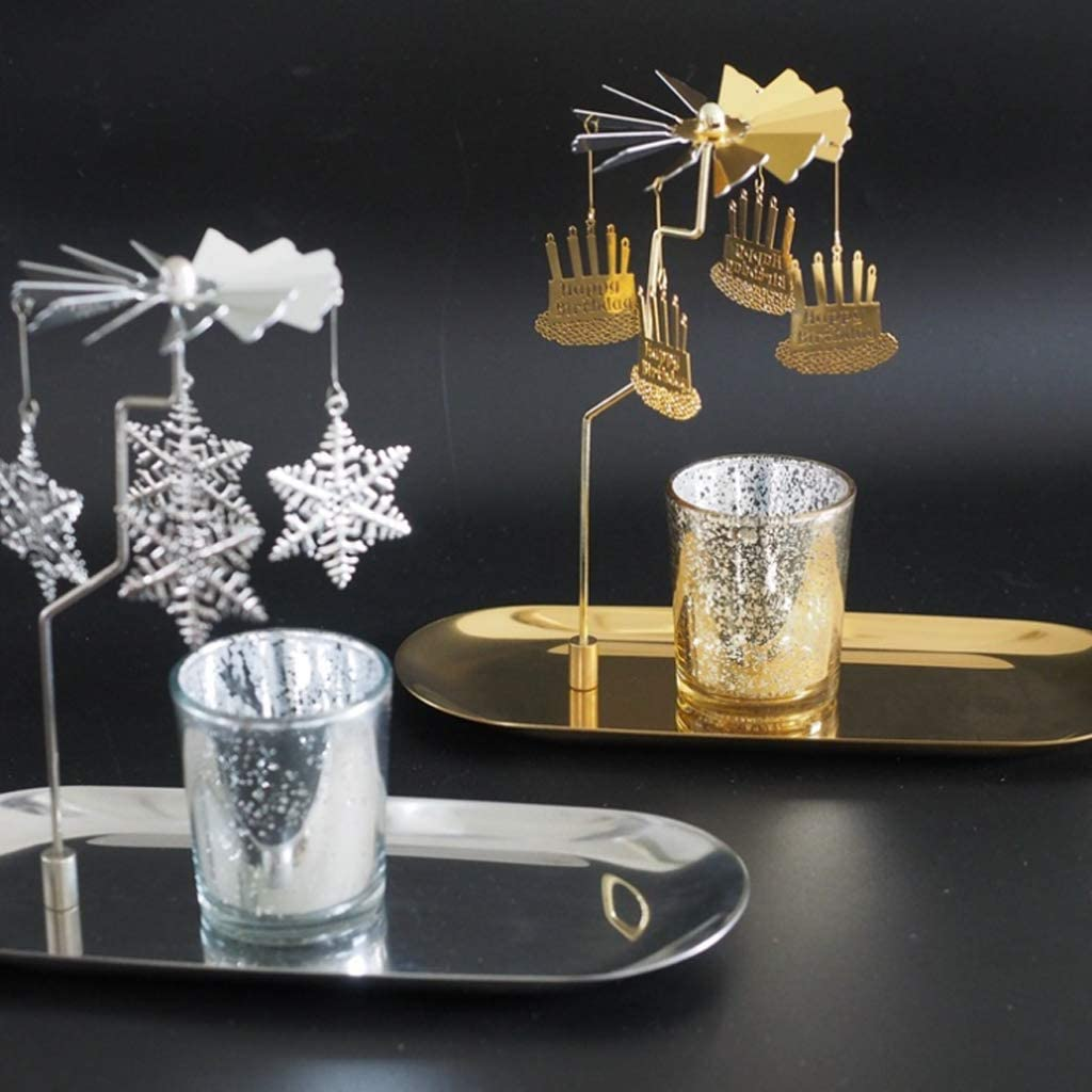 CARRYKT Christmas Magnetic Rotary Spinning Carousel Tealight Candle Holder Metal Stand