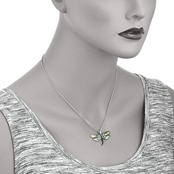 Abalone Shell Pendant with Dragonfly Charm without Chain in Sterling Silver Nickel Free TGW 13.15 Cts.