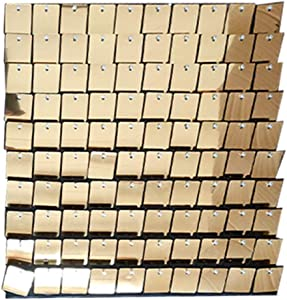 Blush Blooms Decor- 12 Pack Live Sequin Panels   Shimmer Wall, Sequin Backdrop, Events, Home Decor, and Advertising Signs (Light Gold)