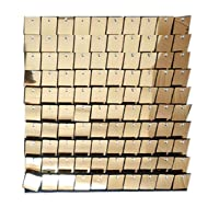 Blush Blooms Decor- 12 Pack Live Sequin Panels | Shimmer Wall, Sequin Backdrop, Events, Home Decor, and Advertising Signs (Light Gold)