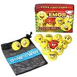 PoWOWer Deluxe Emoji Golf Balls Gift with Nylon Mesh Carry Bag (12-Pack) Dual-Layer USGA Golfing Standards