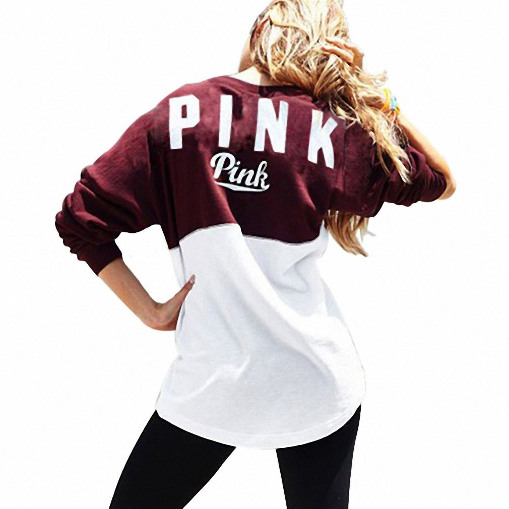 Fashion Women Autumn Sweatshirt Collision Color Printing Letter PINK Ladies Casual Sweatshirts Sudaderas Mujer NEW at Amazon Womens Clothing store: