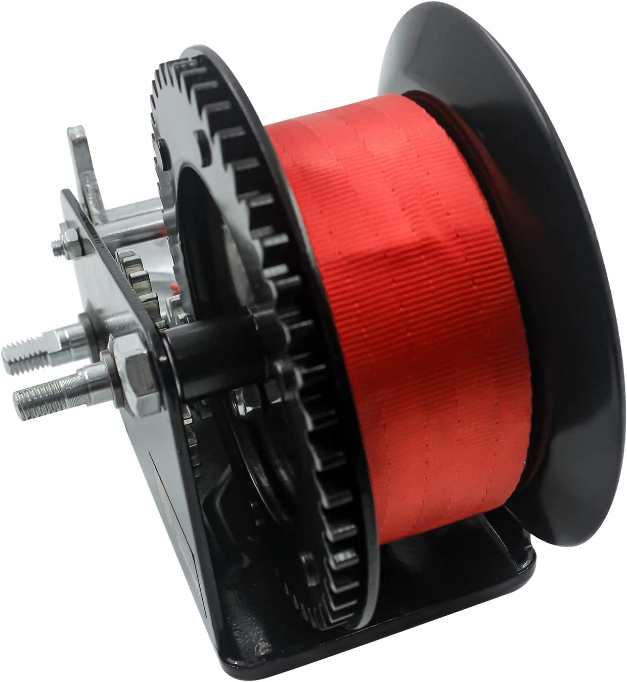 33ft Black Winch and Red Strap Red Nylon Strap 2 Gear Manual Hand Crank for ATV Boat Trailer Truck Auto 10m TYT New 3500lbs Capacity Heavy Duty Hand Winch