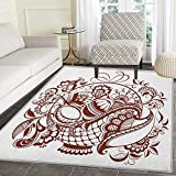 Ethnic Area Rug Carpet Classic Blossom Swirls with Middle Eastern Arabian Bohemian Influences Pattern Customize door mats for home Mat 3'x5' Brown and White