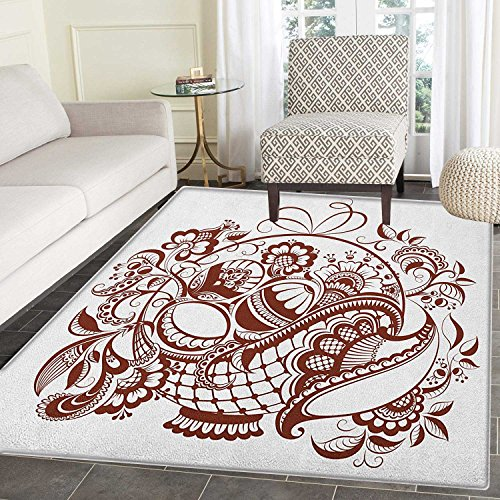 Ethnic Area Rug Carpet Classic Blossom Swirls with Middle Eastern Arabian Bohemian Influences Pattern Customize door mats for home Mat 3'x5' Brown and White by smallbeefly