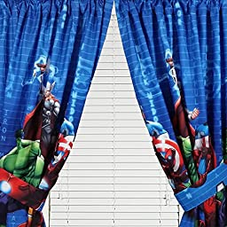 Marvel Avengers Assemble Window Panels Curtains Drapes, Set of 2, 42\
