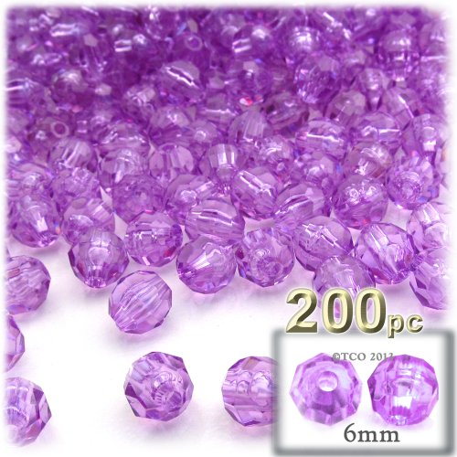 The Crafts Outlet 200-Piece Faceted Plastic Transparent Round Beads, 6mm, Lavender Purple ()