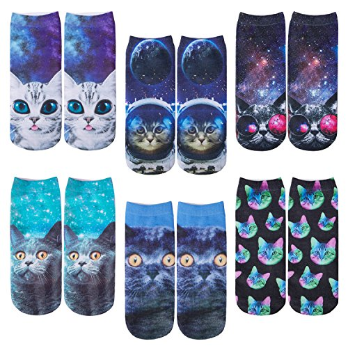 6 Pack Women Girls 3D Funny Crazy Cartoon Novelty No Show Animals Ankle Socks (Style4)