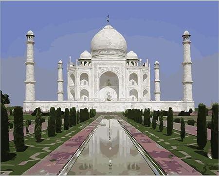 FDDPT Pintar por Numeros Adultos Taj Mahal niños Lienzo de Bricolaje de Pintura al óleo Principiantes 40x50 cm: Amazon.es: Juguetes y juegos