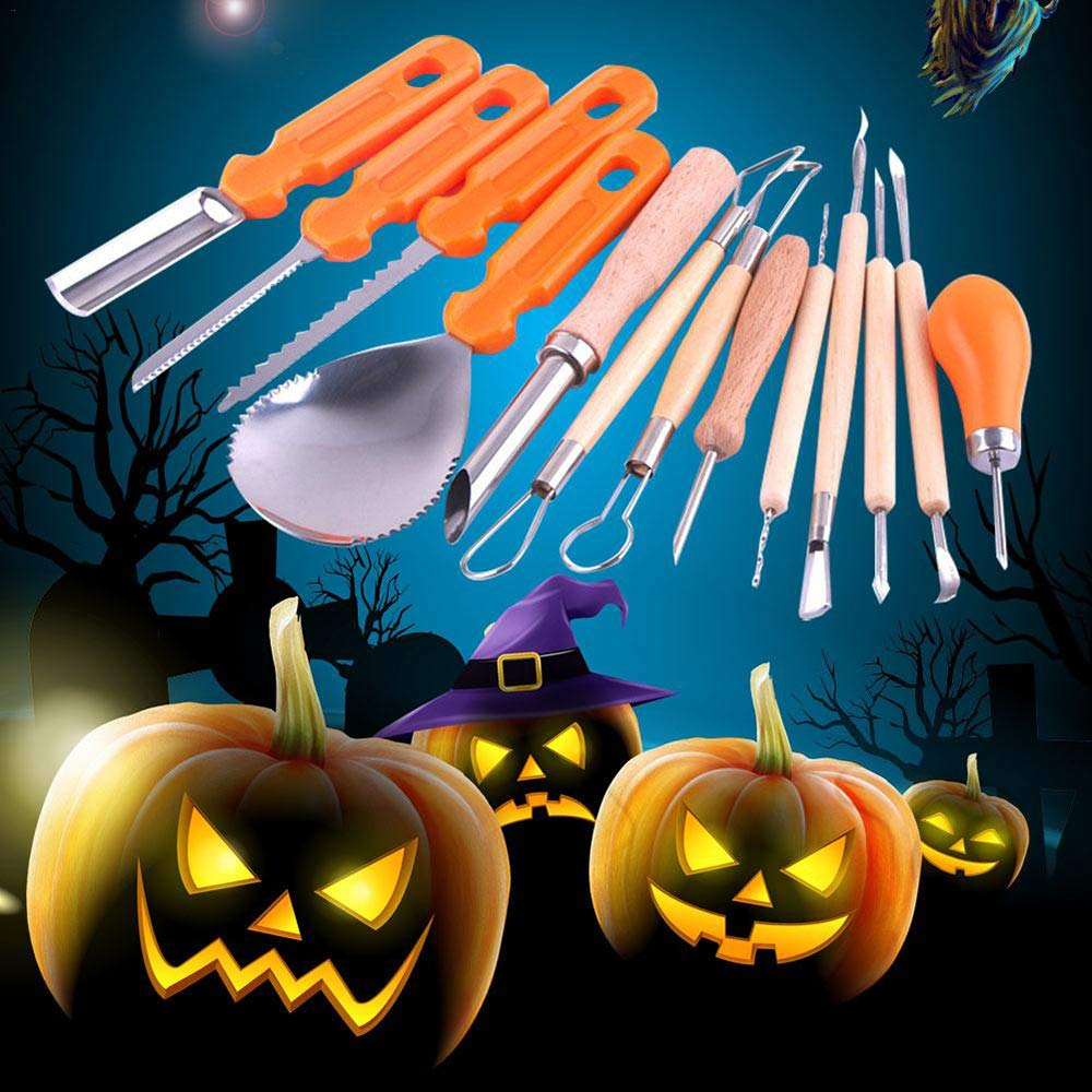 Jack-O-Lantern Sculpting Set, Queta 13 Pieces Halloween Pumpkin Carving Tool Kit Easy Grips Carving Sculpting Tools