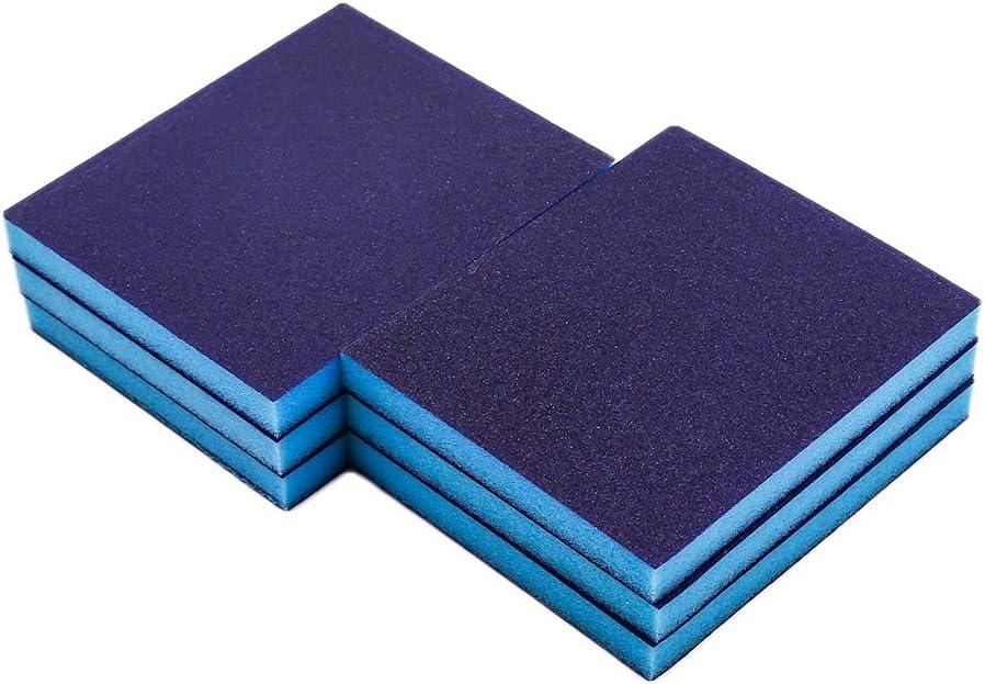 Cyful 180# Grit Blue Sponge Emery Cloth Sandpaper Blocks Buffing Diamond Polishing Pads Hand Sanding Tool-6pcs