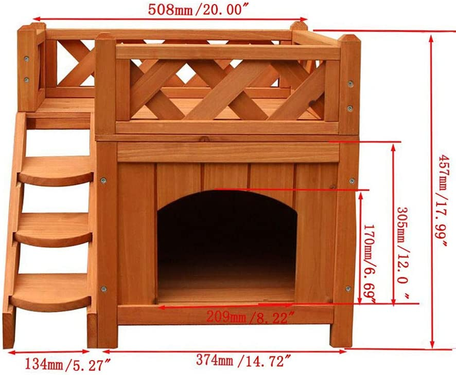 Cat House Wooden Rabbit House Deluxe Pet Home Indoor//Outdoor Wood Cat House Shelter