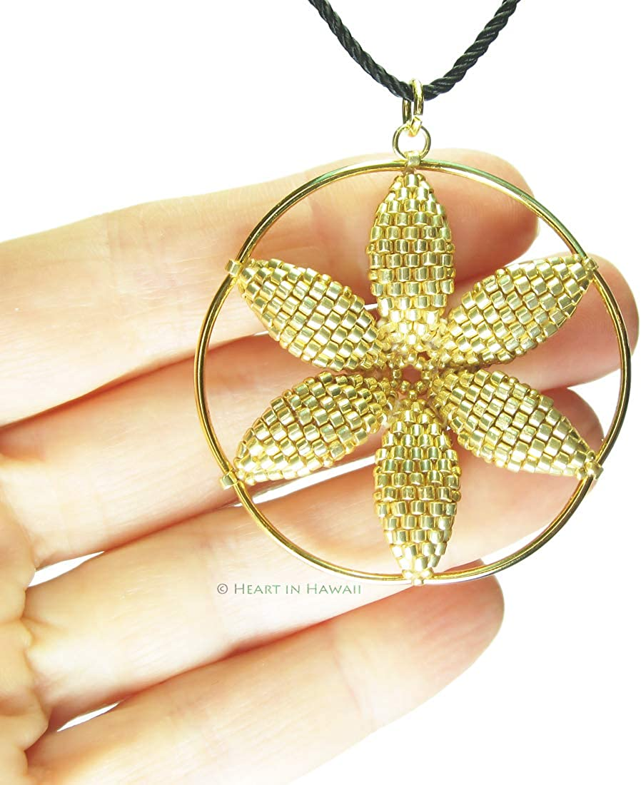 Heart in Hawaii Seed of Life Flower Beaded Pendant Bronze