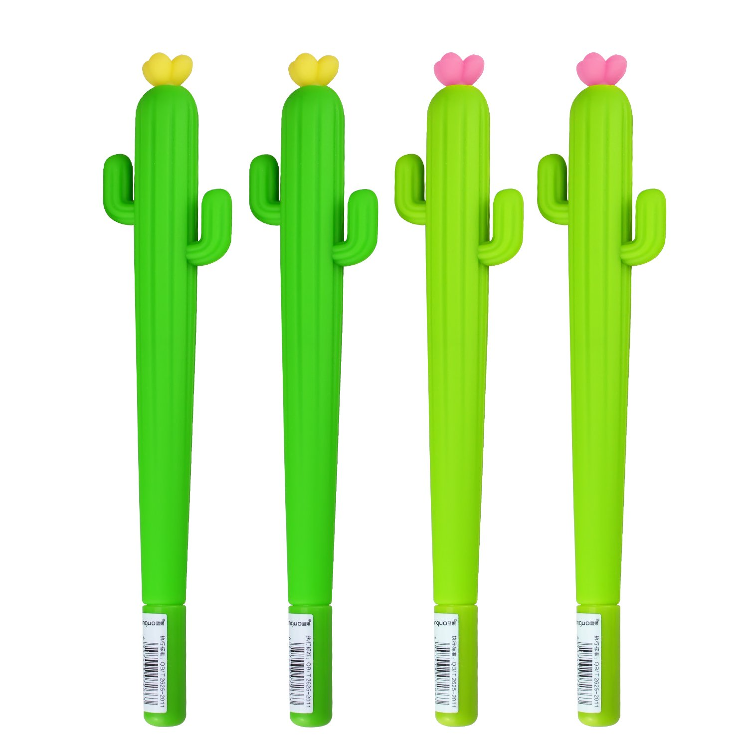 4 Pack Gel Ink Black Pens For Student And Office With Cactus Shaped Rollerball Pens