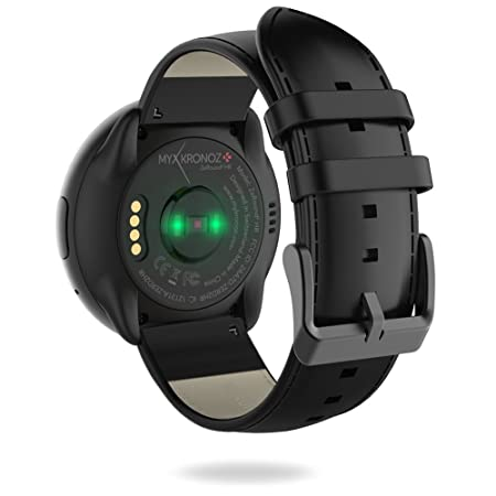 MyKronoz ZeRound2HR Premium - Smartwatch con Monitor de Ritmo cardíaco, micrófono Incorporado y Altavoz, Color Negro