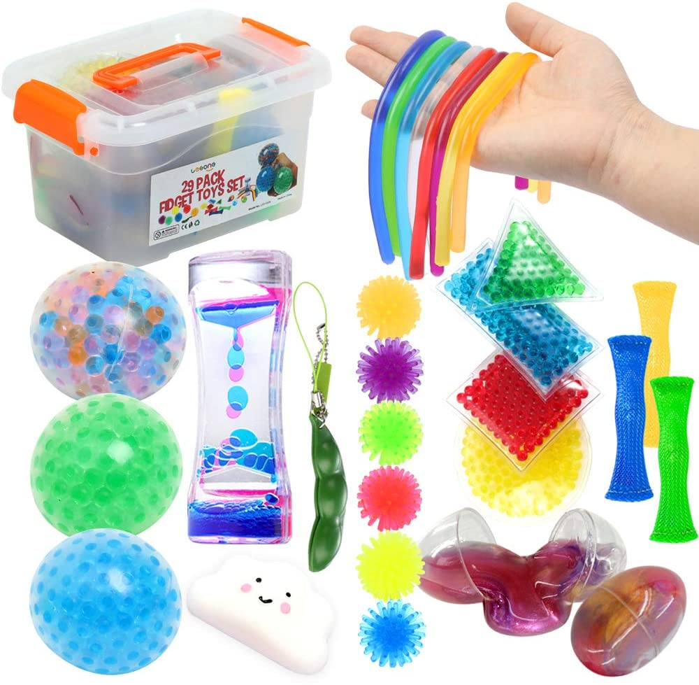 Fidget Toys Set 29Pack, Sensory Relieves Stress & Anxiety Squeeze Toy for Kids Teens and Adults ADHD ADD Autism, Fun Fidgeting Game for Classroom and Office with Slime Eggs, Liquid Timer, Marble Mesh