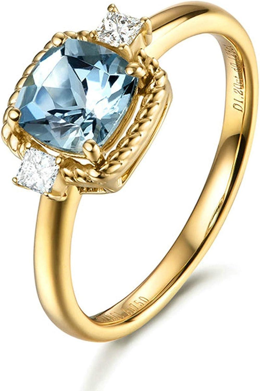 Daesar Anillo de Mujer Oro Azul Claro Anillos de Oro Amarillo 18 Kilates Oval Aguamarina Azul Claro 1ct Diamante Blanco 0.06ct