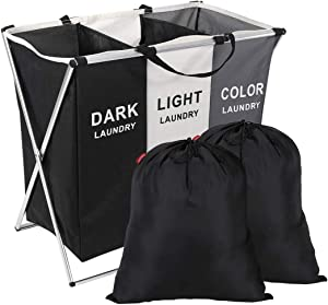 "SunGlobal Laundry Basket 3 Sections Laundry Hamper Sorter 135L 26"" x 24"" x 15"" with Foldable Aluminum Frame Multicolor Laundry Sorter and 2PCS 18"" x 22"" Black Laundry Bags"