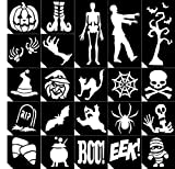 22pc. Glitter Tattoo Stencil Sample Pack ~ Halloween ~ Single Use/Self Adhesive