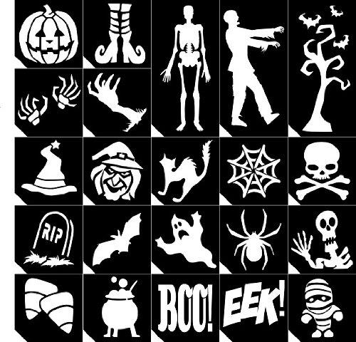 22pc. Glitter Tattoo Stencil Sample Pack ~ Halloween ~ Single Use/Self -