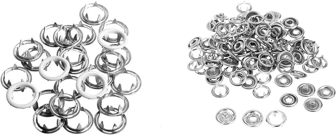 10mm Weddecor 4 Parti Bottoni Automatici Nichel Free Ottone Perla Scatto Pressione Elementi di Fissaggio per Abbigliamento Riparazione Leathercraft Giacca Camicia Bambino Bavaglini 12mm Argento