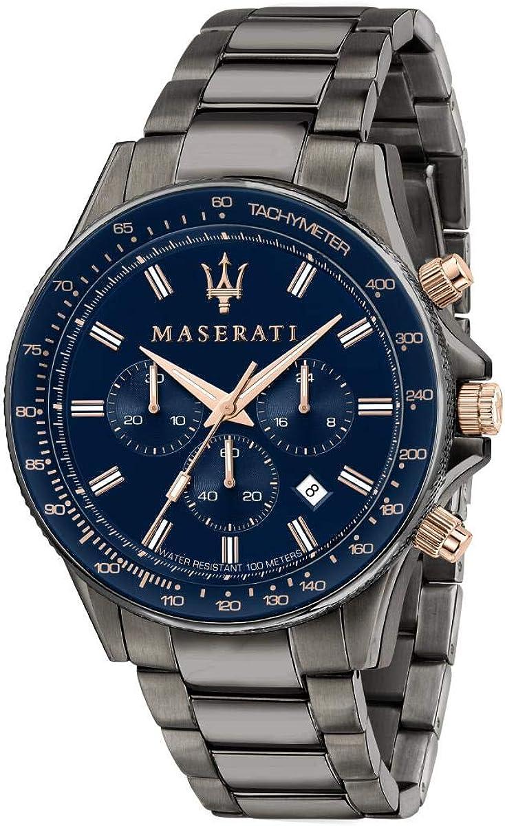 Maserati Reloj para Hombre, Colección Sfida, en Acero Inoxidable, PVD Gris, con Correa de Acero Inoxidable - R8873640001