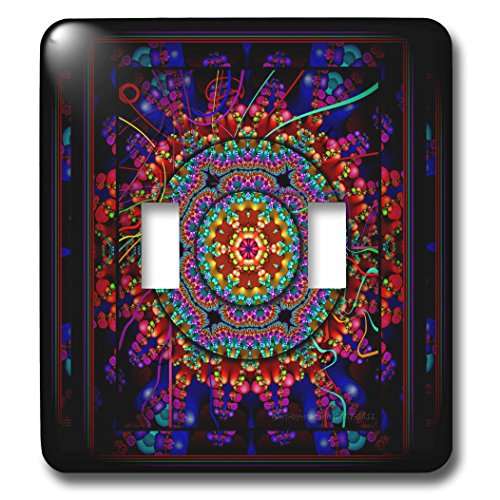 Harmony Switchplate - 3dRose lsp_24832_2 Mandala 4 Mandala India Buddhism Hinduism Psychedelic New Age Harmony Balance Meditation Double Toggle Switch