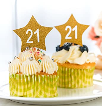 Amazon Com 21st Birthday Cupcake Toppers Picks 50pcs Gold Glitter