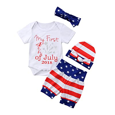 49db8f08a Mericiny July 4th Newborn Baby Girl Boy Clothes USA Flag Striped ...