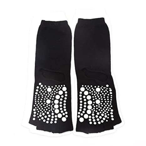 Amazon.com: EBRICKON 2 Pairs Yoga Toe Socks Women Open Toed Non Slip Cotton Calcetines Deporte Fitness Sox Compression Pilates Yoga Socks (Black): Sports & ...