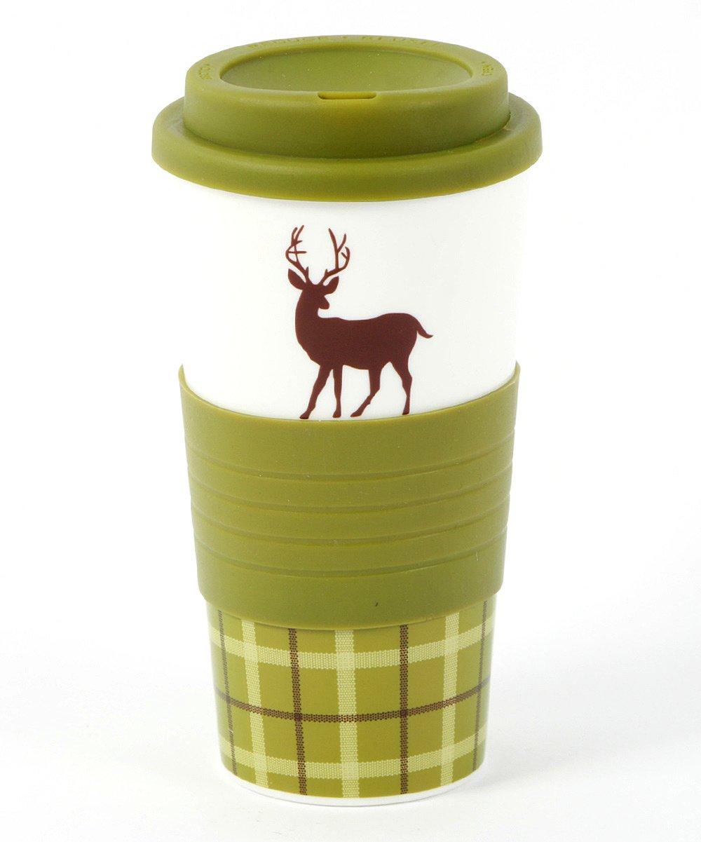 Woodland River Animal Silhouette 18oz Travel Tumblers (Green Deer)