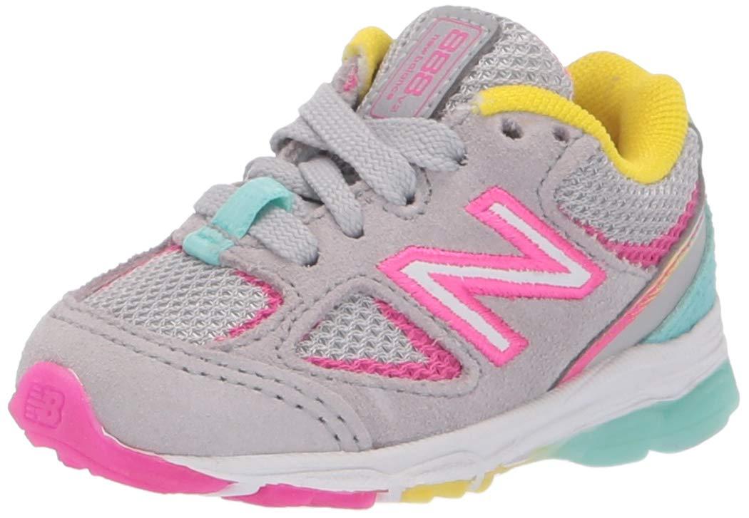 New Balance Girls' 888v2 Running Shoe, Grey/Rainbow, 2 W US Infant