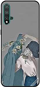 For Huawei Nova 5 Case Cap Girl Wearing Floral Coat