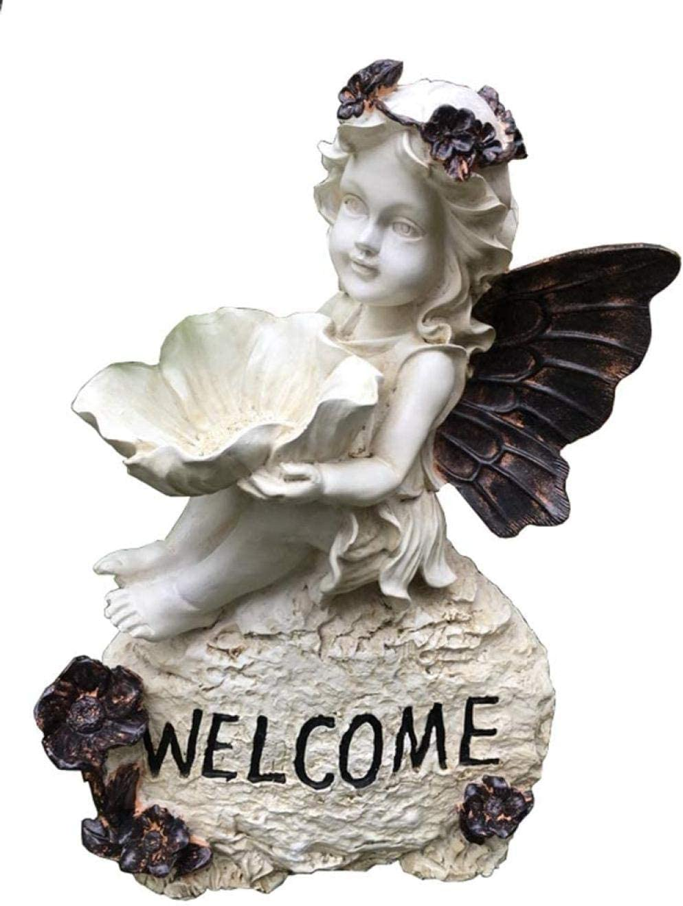 DQQQ Garden Angel Bird Feeder Estatua de jardín al Aire Libre con comedero para pájaros Chica Bird Vintage Resin Crafts